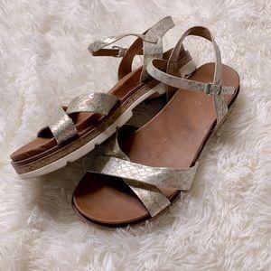 Volatile Gold Snake Skin Strapped Sandals